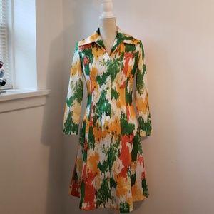 Dresses & Skirts - Vintage 1970's Yellow Green Orange Dress